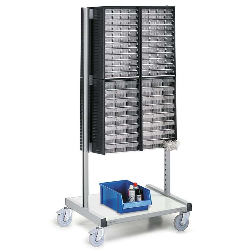 Cabinet Trolley With 4 - 551-3 And 4 - 554-3 Small Parts Storage Cabinets