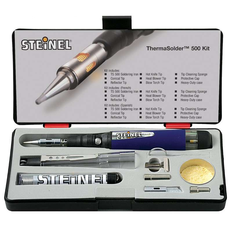 Butane Soldering Kit with Iron (25W-80W), Accessories, and Protective Case