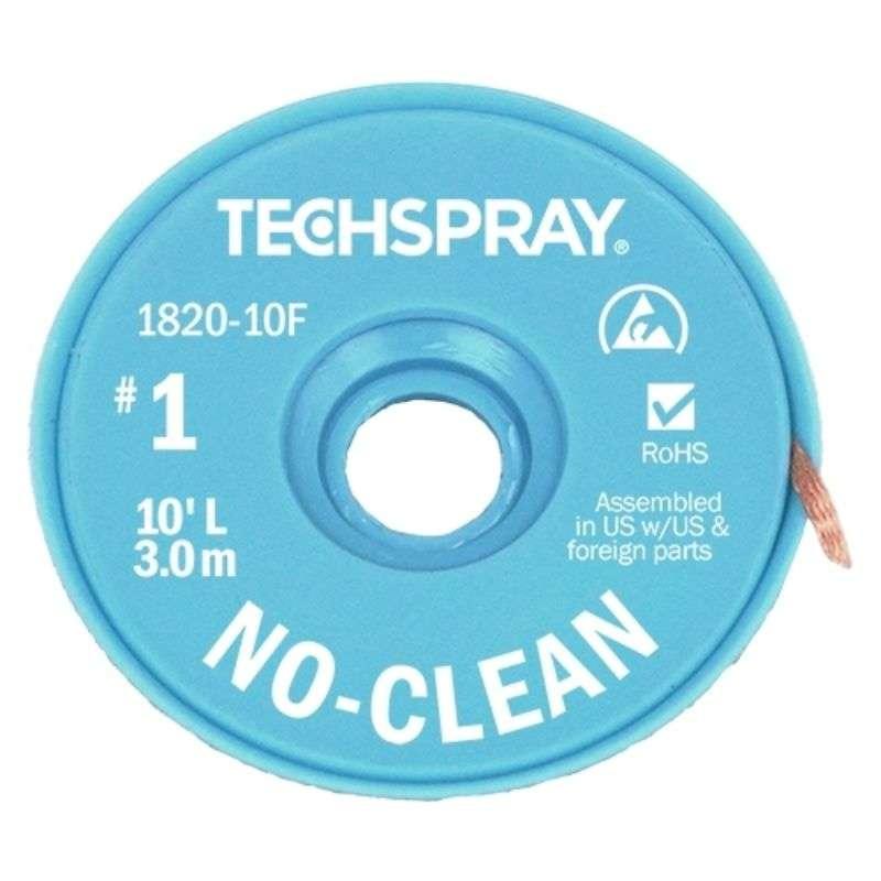 """No-Clean Desoldering Braid, .035"""", 10' White ESD Spool"""