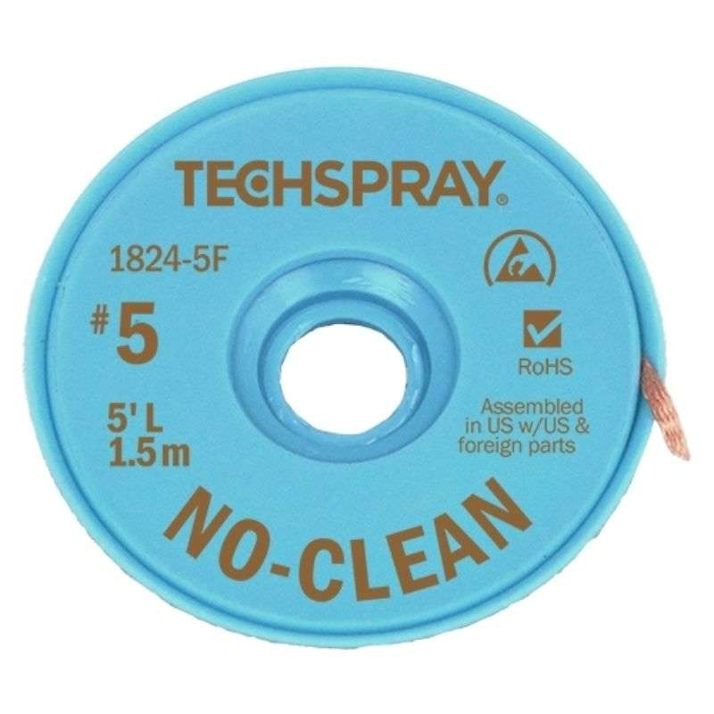 "No-Clean Desoldering Braid, .130"", 5' Brown ESD Spool"