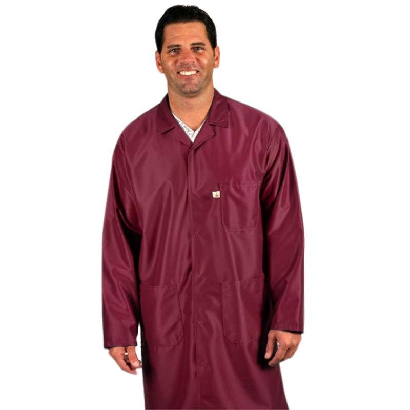 """Traditional, ESD-Safe 40"""" Length Coat, IVX-400, Burgundy, 3X-Large"""