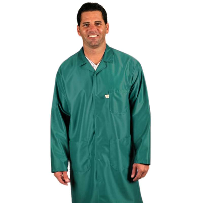 """ESD-Safe Traditional Coat in IVX-400 Material, Green, 2X-Large, 40"""" Long"""