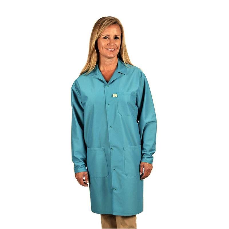 "Traditional, ESD-Safe 40"" Length Coat, IVX-400, Teal, Large"