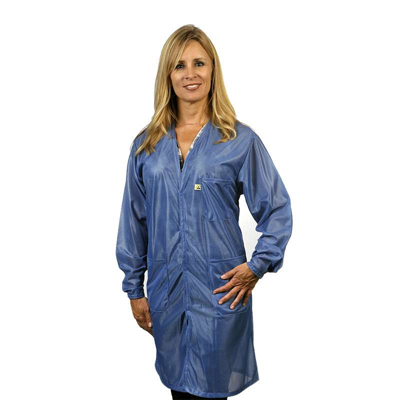 """ESD-Safe Traditional V-Neck Coat in OFX-100 Material, Hi-Tech Blue, X-Large, 40"""" Long"""