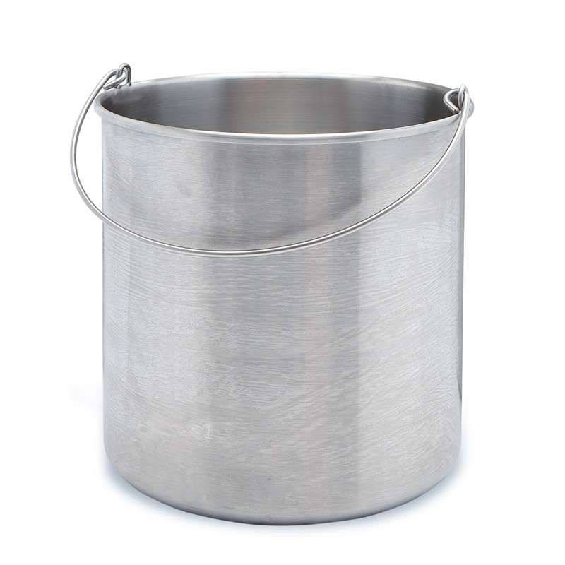 100% 304 Stainless Steel Seamless Round Bucket, 10-Gallon Capacity