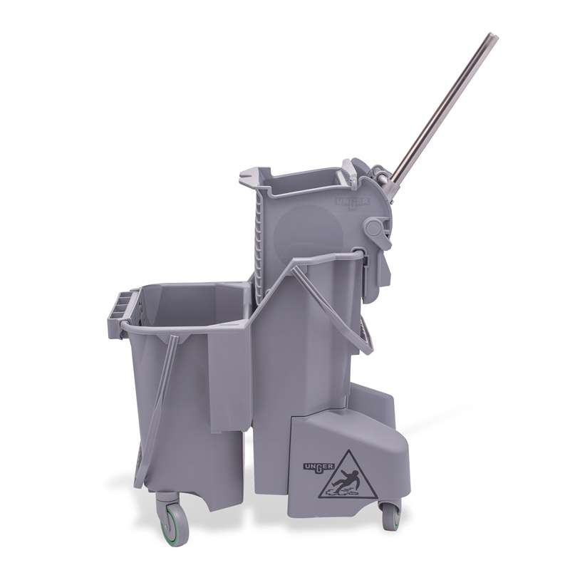 Cleanroom Autoclave Safe Polypropylene Dual Bucket Mop System, Grey, 4-Gallons per Compartment