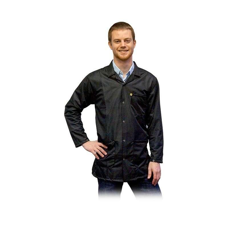 "ESD-Safe Light Weight Jacket, Black, 4X-Large, 31-1/2"" Long"