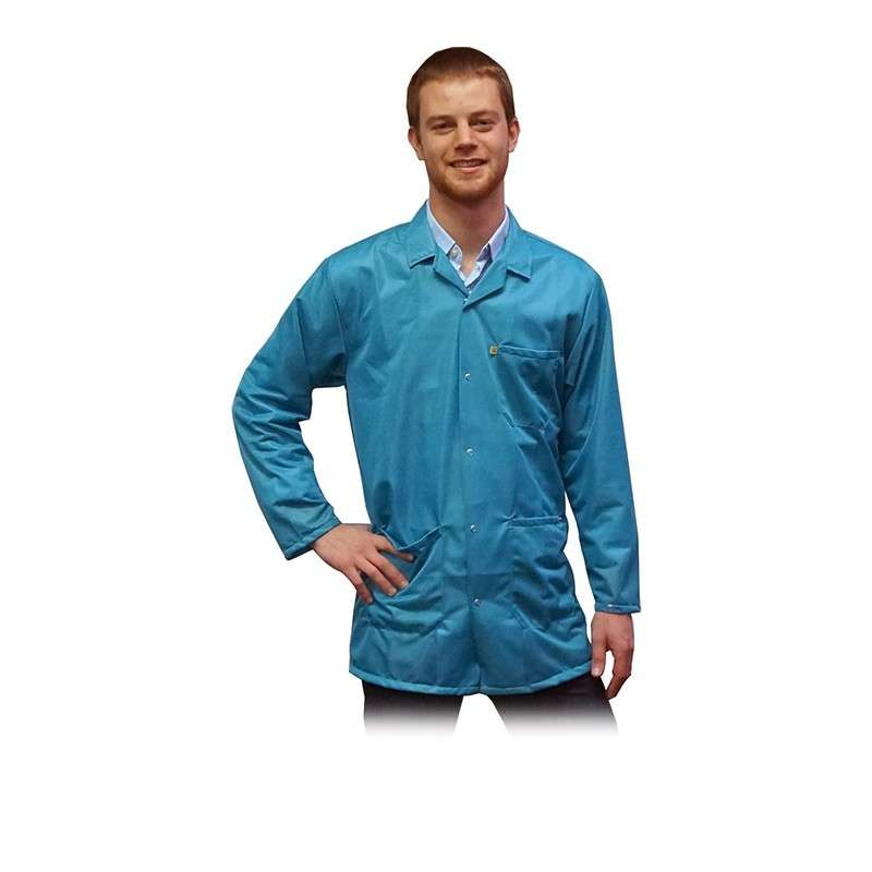 """ESD-Safe Light Weight Jacket, Teal, X-Large 31-1/2"""" Long"""