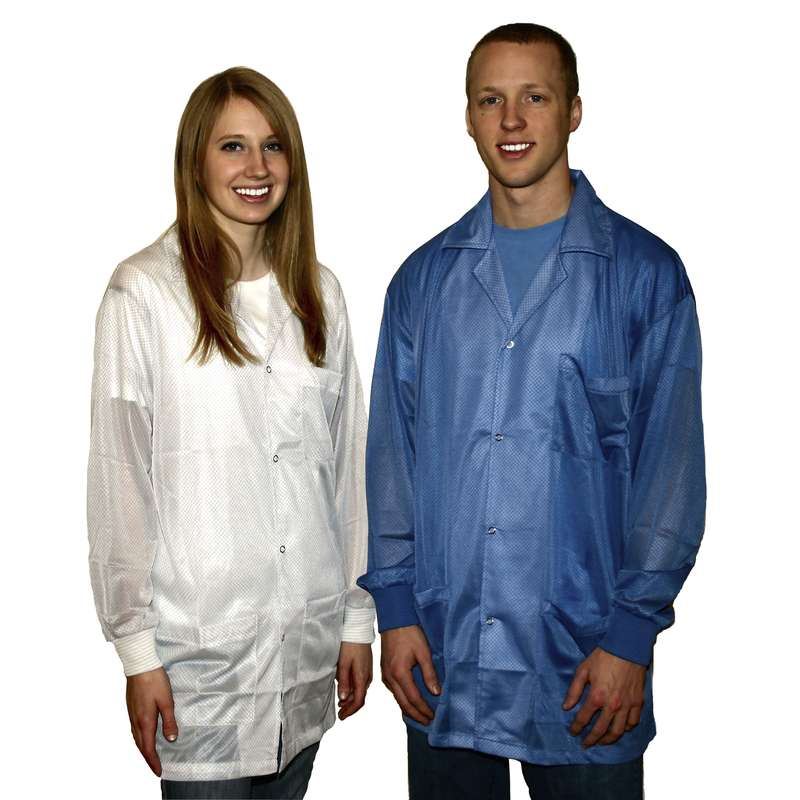"ESD-Safe Light Weight Jacket Knit Cuff White, 2 XL, 31.75"""