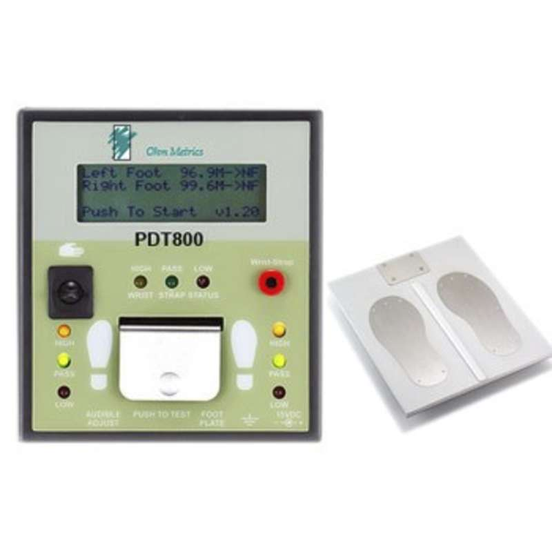 """Ohm Metrics, Deluxe """"Near-Fail"""" Combo Tester Stand, Wrist Strap and Foot Plate with LCD Display,120 V"""