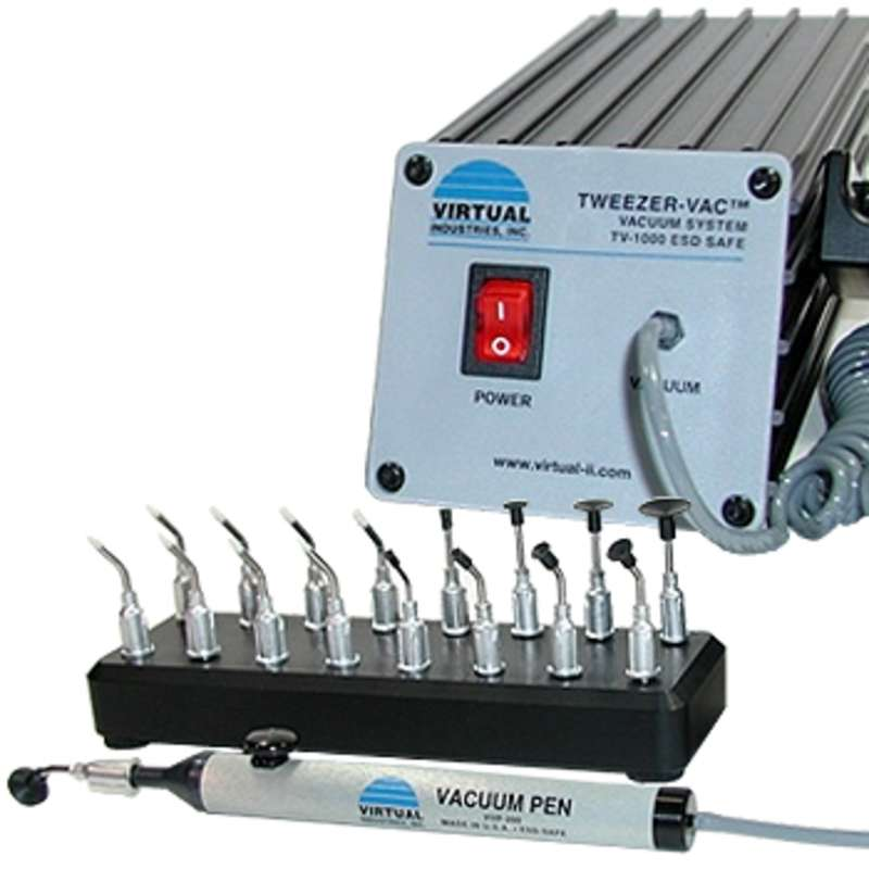ESD-Safe Tweezer-Vac™ Continuous Vacuum System with Pick-Up Tool and 17 Cups, 110V