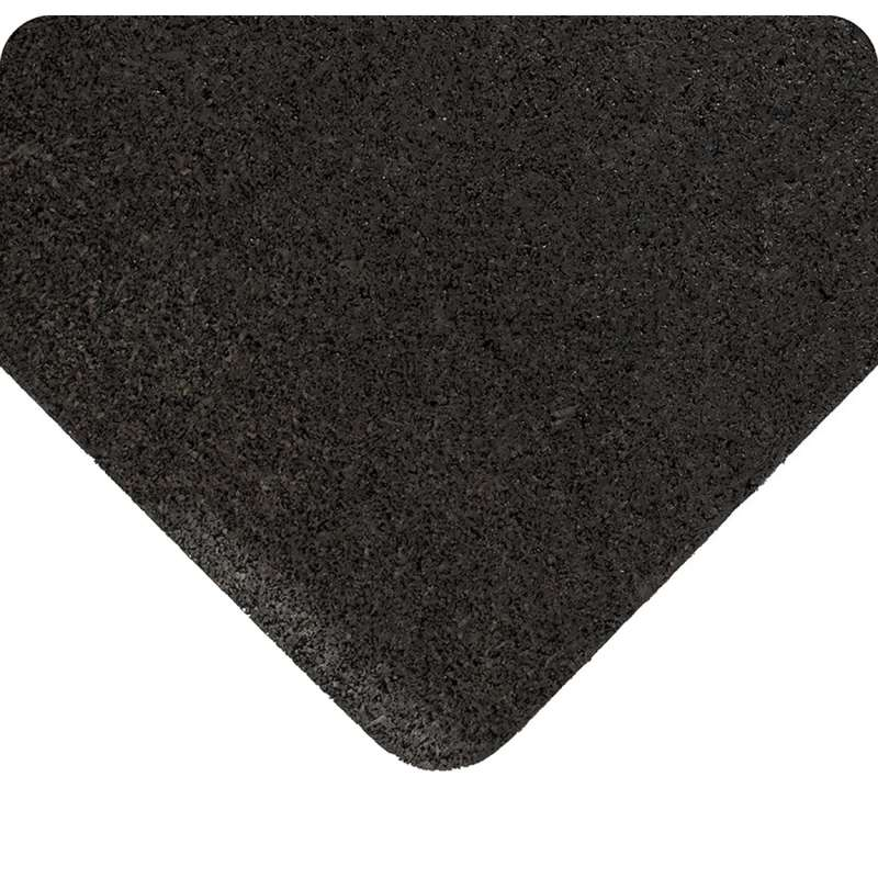 """Non-ESD-Safe Enviro Mat 3 x 105' Anti-Fatigue Cushioning and Impact Resistant Black Rubber Mat Runner, 3/8""""Thick"""