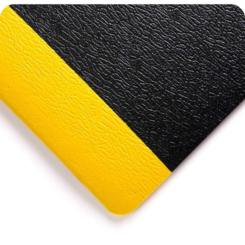 "Soft Step 3 x 5' Anti-Fatigue Pebble Embossed Pattern Black Vinyl Sponge Matting, 3/8"" Thick"