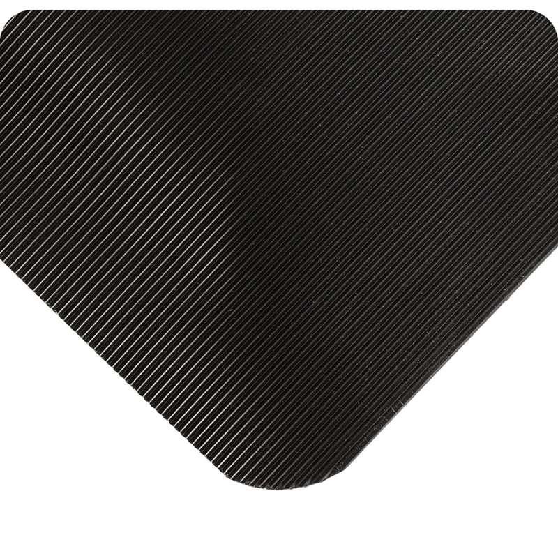 "Corrugated SpongeCote® Traction and Comfort 3 x 75' Black Vinyl Mat with Flex-Link™ Sponge Base, 1/2"" Thick"
