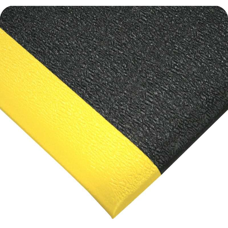 """Ultra-Tred ArmorCote 3 x 5' Chemical Resistant Urethane Black Mat with Yellow Borders and Vinyl Sponge Base, 3/8"""" Thick"""