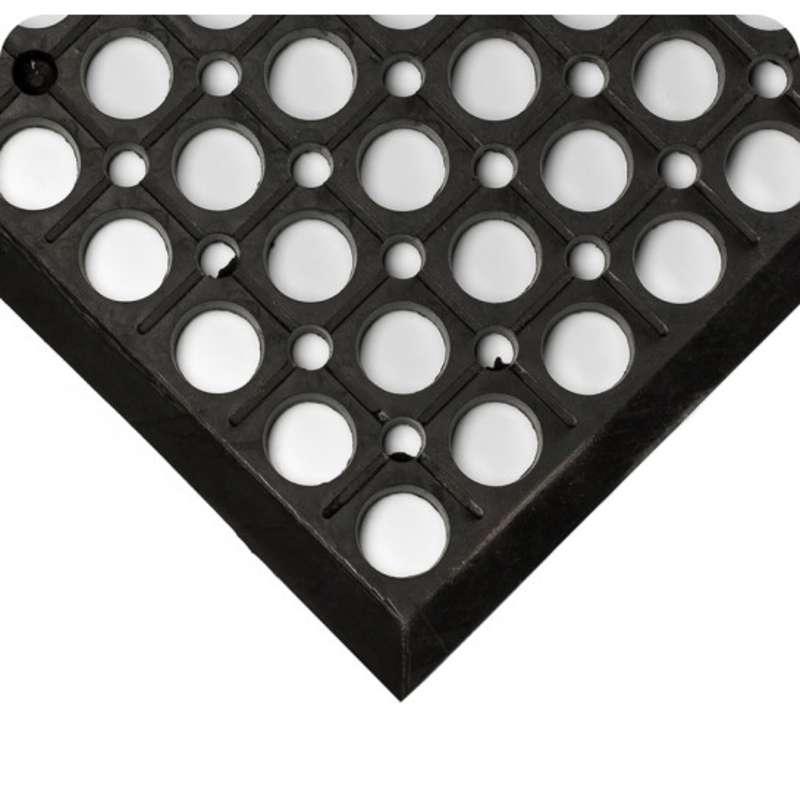 "Non-ESD-Safe WorkRite Open Grid 3 x 10' General Purpose Black Drainage Matting, 1/2"" Thick"