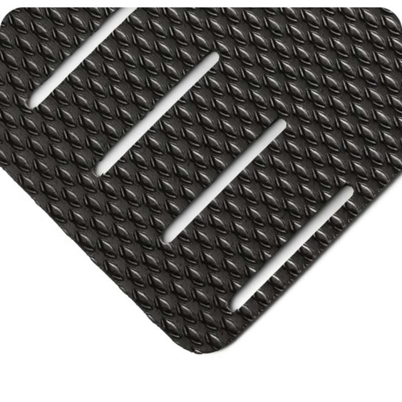 """Non-ESD-Safe Kushion Walk Super Tough 3 x 5' Abrasion Resistant Black Unslotted Matting with Beveled Edges, 3/8"""" Thick"""