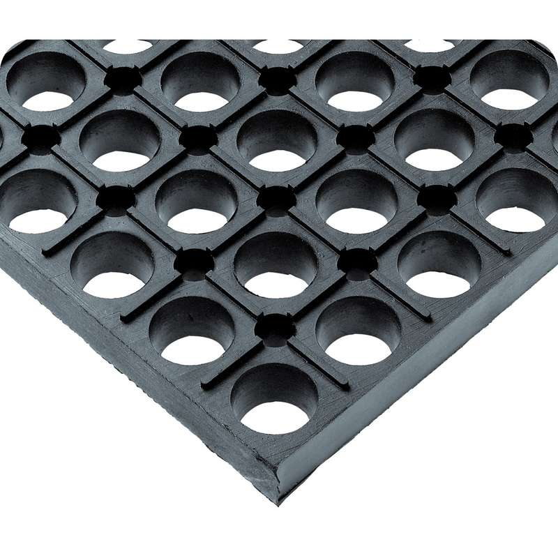 """Non-ESD-Safe WorkSafe® Open Grid 2 x 3' Grease Resistant Black Matting, 7/8"""" Thick"""