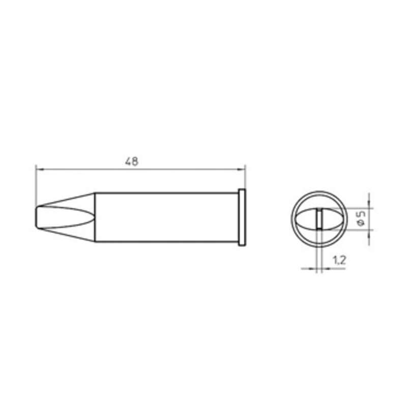 """Chisel Solder Tip, XHT Series """"D"""" for WXP200 Iron, 5.0mm x 1.2mm"""