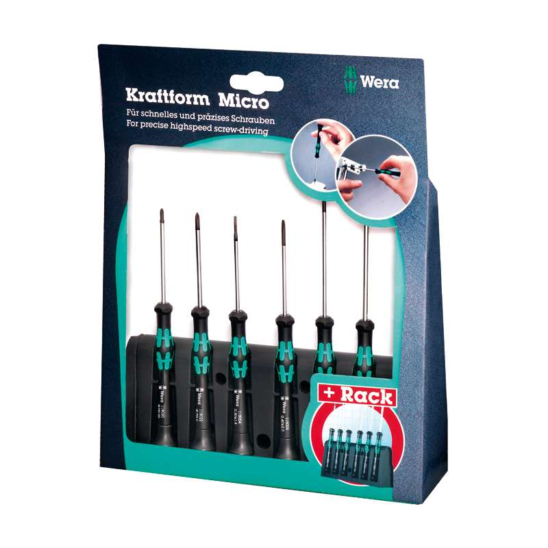 Kraftform® Micro Series Slotted and Phillips Screwdriver Set, 6 Pieces