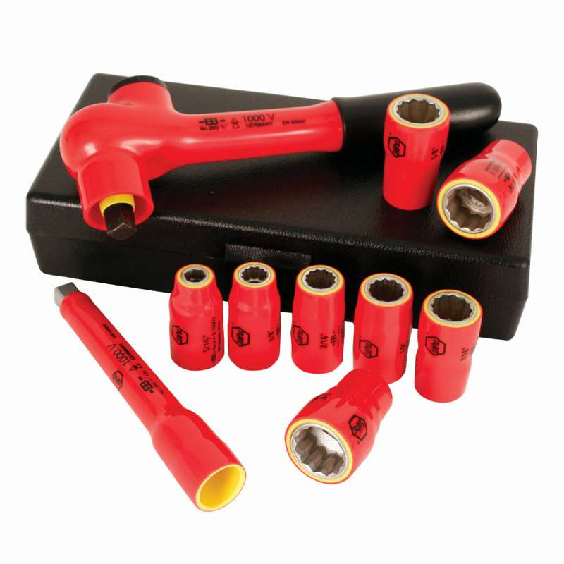 """Insulated 6 Point Standard Socket Set for 3/8"""" Square Drive, 10 Pieces"""