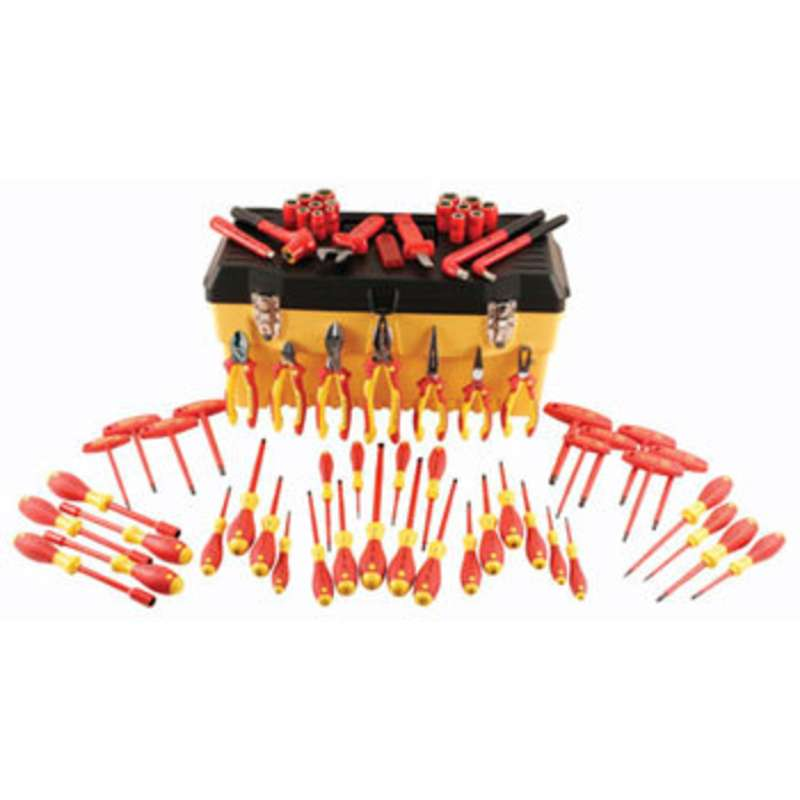 Insulated 1000V Tool Set in Tool Box, 66 Pieces