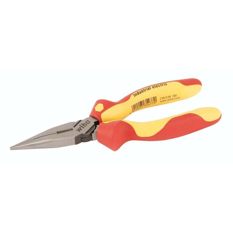 """Wiha Insulated Straight Long Nose Pliers with Cutters and Cushion Grips, 6-5/16"""" Long"""