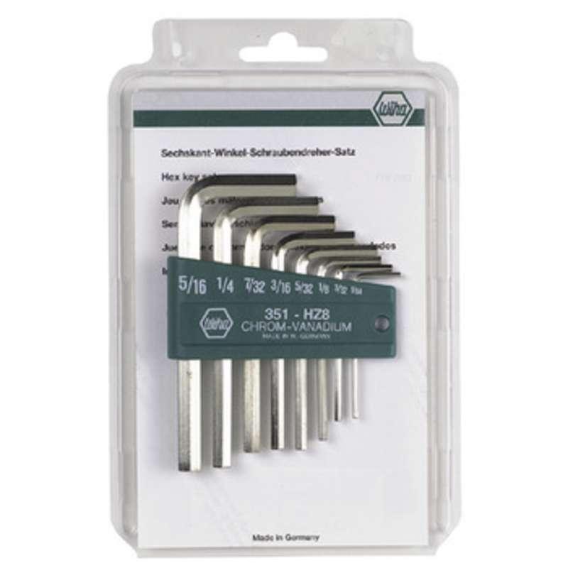 Hex Short Arm L-wrench Keys Inch set 8 Piece