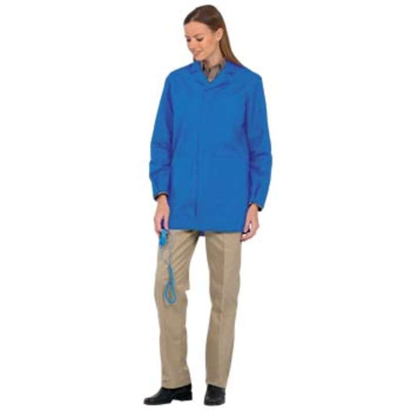 """Microstat ESD-Safe Unisex 33"""" Lab Jacket with Adjustable Wrist Snaps, Royal, Medium"""