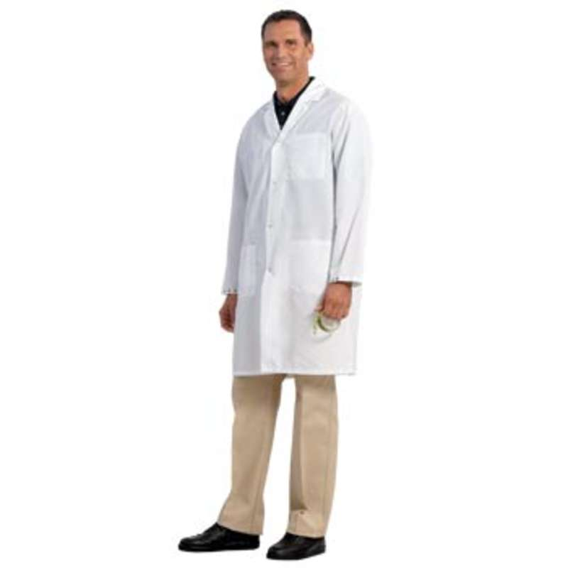 """SC-3 ESD-Safe Cleanroom Unisex 41"""" Lab Coat with Adjustable Wrist Snaps, White, X-Small"""