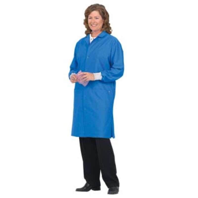 """98/Two ESD-Safe Unisex 41"""" Coat with Cuff and Ground Snap, Royal Blue, 5X-Large"""