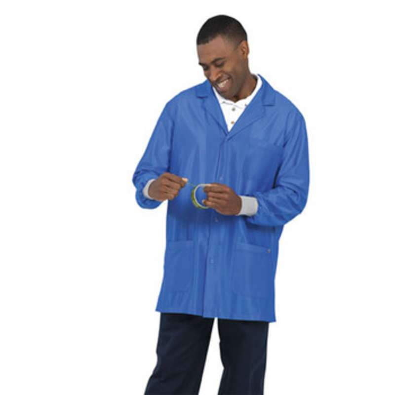 """Work-Stat ESD-Safe Unisex Lightweight Jacket with Cuffs, Two Ground Snaps and Lapel Collar, 33"""" Royal Blue, 2X-Large"""