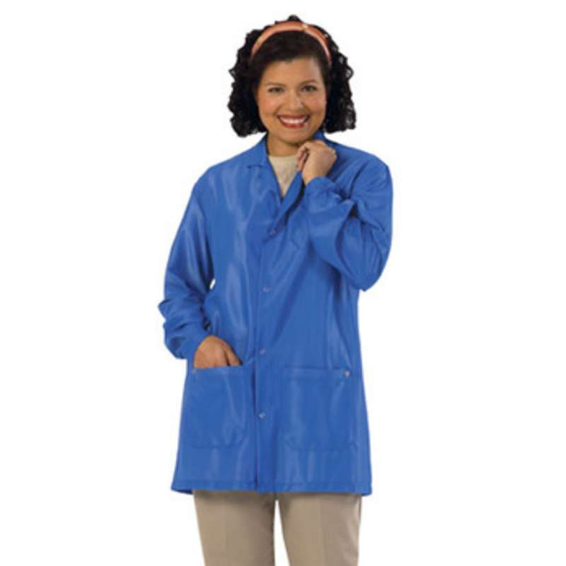 """Work-Stat ESD-Safe Unisex Lightweight Jacket with Two Ground Snaps and Lapel Collar, 33"""" Royal Blue, Medium"""
