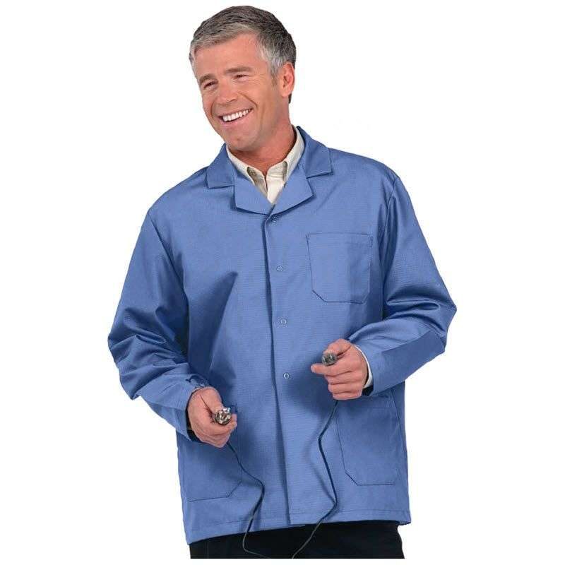 """ESD-Safe Microstat Heavy Weight Unisex Short Lab Coat, Silica Blue, 4X-Large, 30"""" Long"""