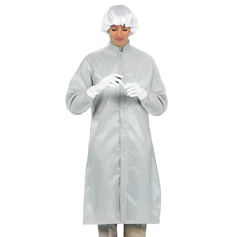 """LD-100 System Unisex White Frock with Adjustable Snaps at Wrists and Collar, 47-1/4"""" Length, Large"""