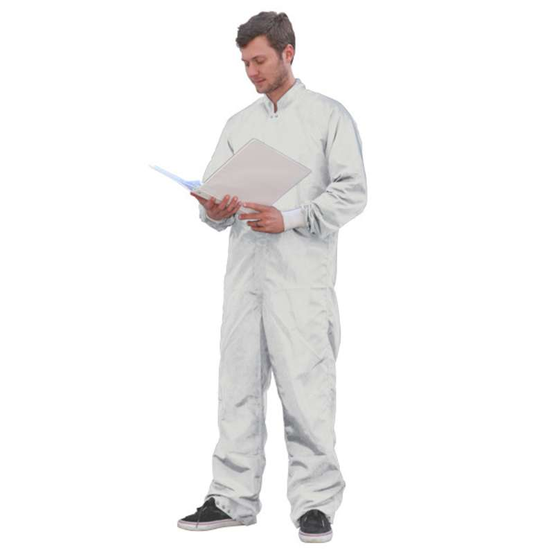 SC-3 ESD-Safe Cleanroom Coverall with Raglan Sleeves and Zipper, White, 2X-Large