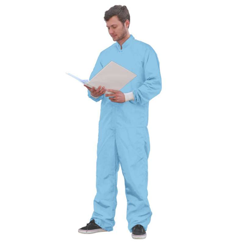 SC-3 ESD-Safe Cleanroom Coverall with Raglan Sleeves and Zipper, Blue, 2X-Large