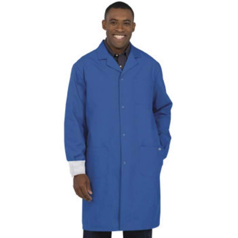 """ESD-Safe Work-Stat Unisex Lightweight Royal Blue Lapel Collar Coat with Cuffs, 41"""" Length, X-Small"""