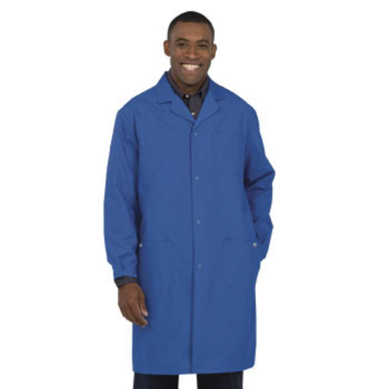 """Work-Stat ESD-Safe Unisex Lightweight Lab Coat with Two Ground Snaps and Lapel Collar, 41"""" Royal Blu"""