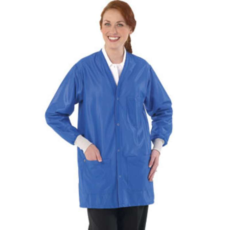 """Work-Stat ESD-Safe Unisex Lightweight Jacket with Cuffs, Two Ground Snaps and V-Neck, 33"""" Royal Blue, X-Small"""