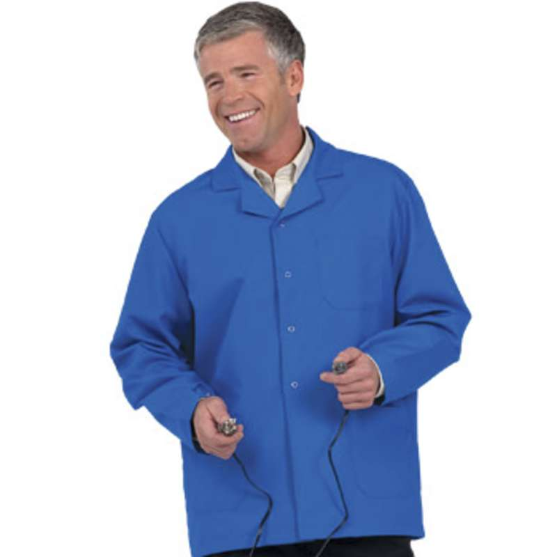 "Microstat ESD-Safe Heavy Weight Unisex 30"" Short Lab Coat, Royal Blue, Medium"