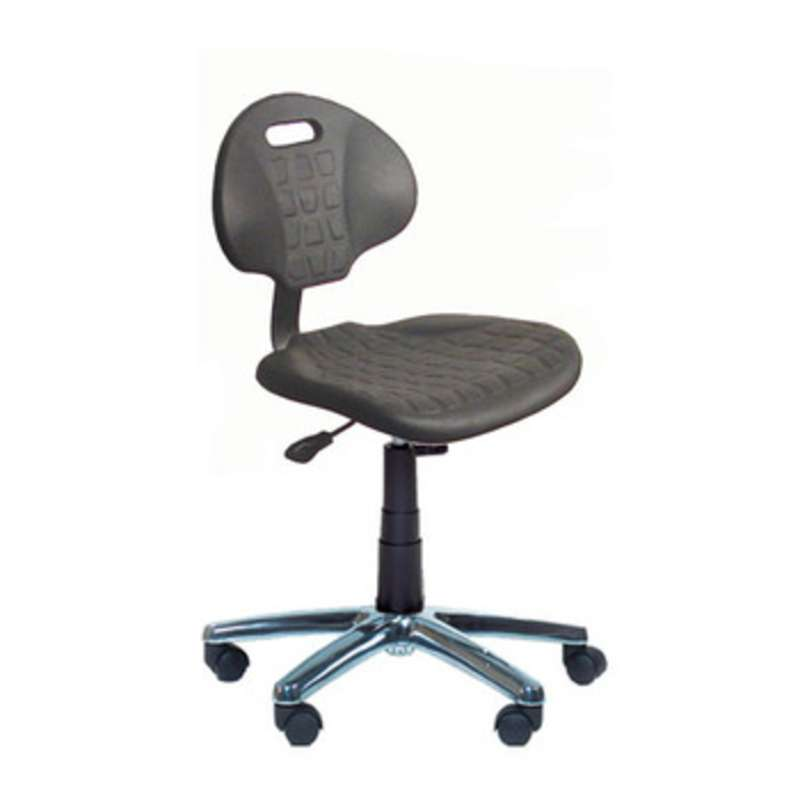 "ESD-Safe Adjustable 18-23"" Black Polyurethane Chair with Chrome Base and Drag Chain"