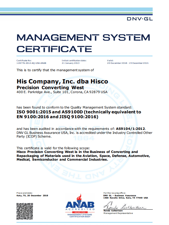 Image of AS 9100D Certificate