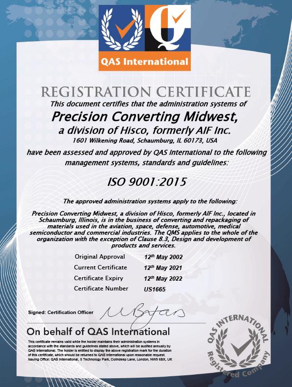 Image of QAS ISO9001:2105 Certificate